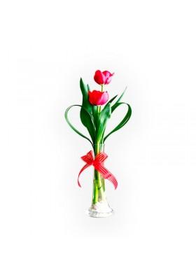 Florero con 2 tulipanes