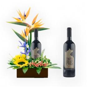 Jardinera de flores y vino