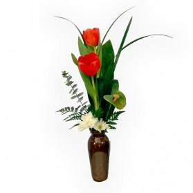 Florero con 2 tulipanes (mínimo 3 unidades)