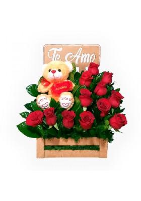 Sorpresa de rosas y peluche