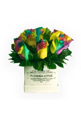 Box de rosas multicolor