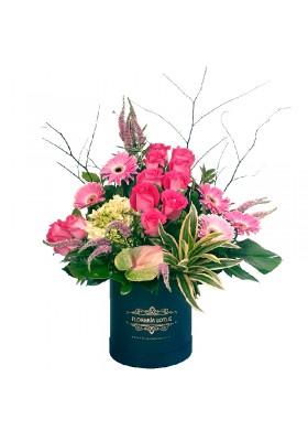 Box grande con rosas y gerberas