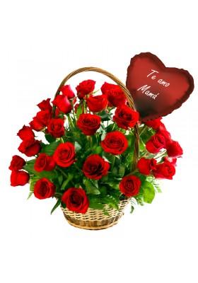 Canasta de 36 rosas